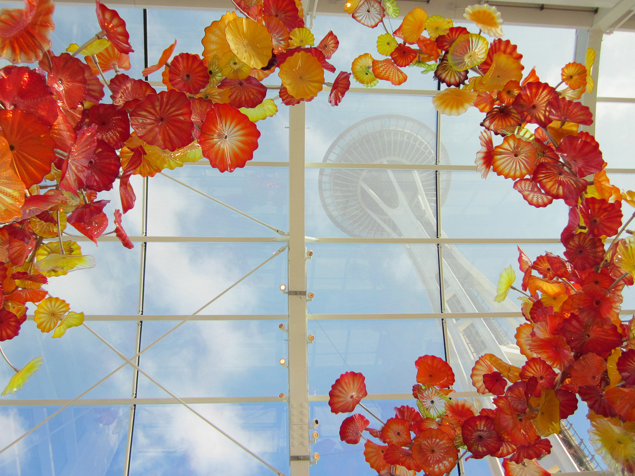 Space Needle through Chihuly Glass